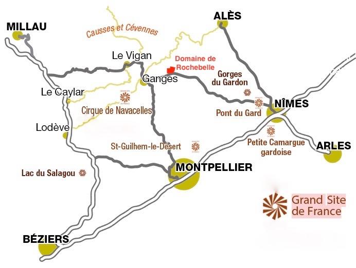 Chambre-dhotes-domaine-de-rochebelle-cevennes-accès-map-sites-touristiques